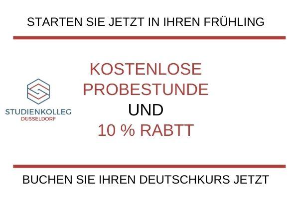 Studienkolleg Düsseldorf, Deutschkurs, Frühlingsangebot, kostenlose Probestunde